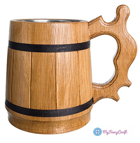 Barrel Stein - Handmade Beer Mug Oak Wood 0.6L 20oz Stainless Steel Cup Gift Natural Eco-Friendly Retro Beige