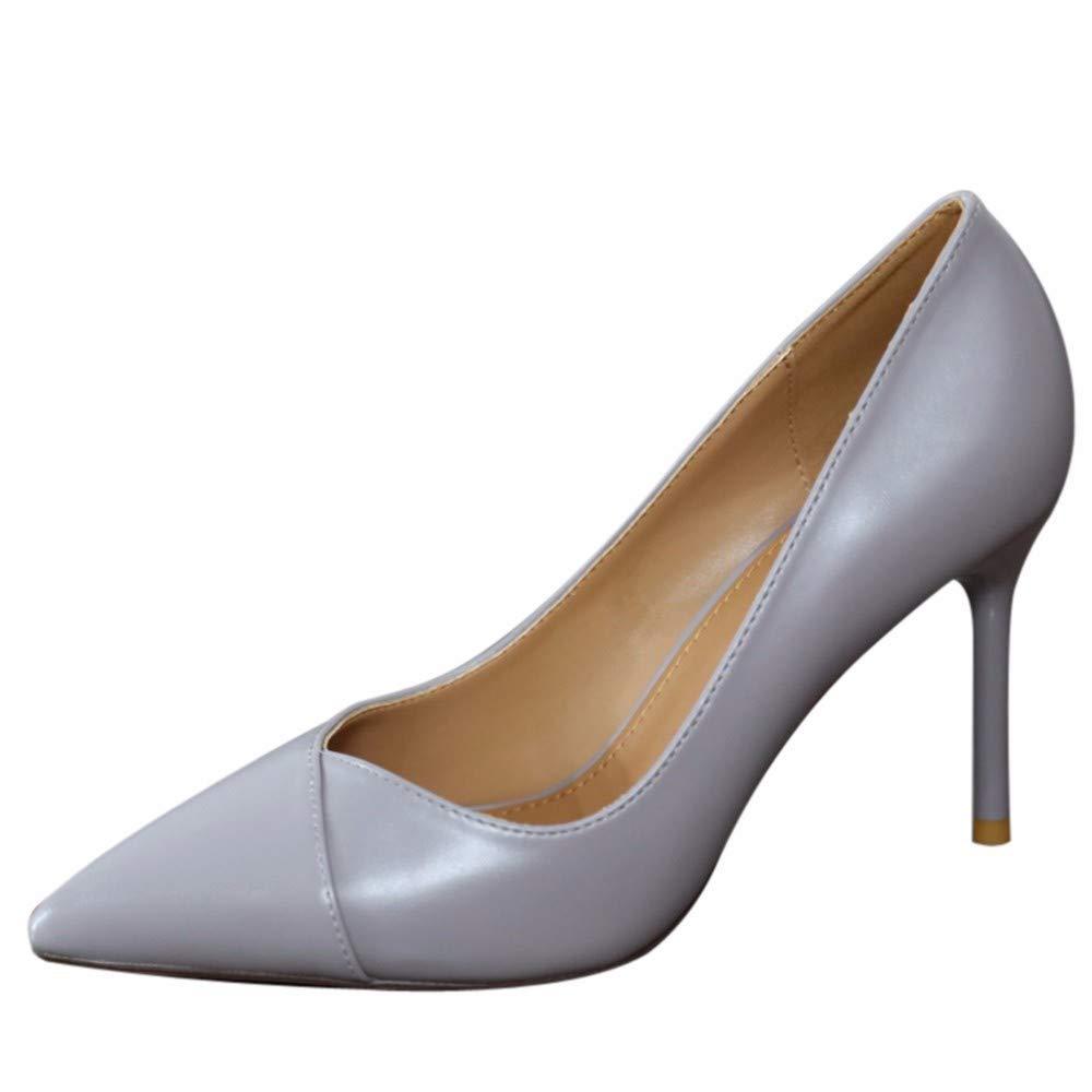 YMFIE Continental a Bien la Peu Profonde de la Bien Bouche avec Un Style de Mode Sexy Chaussures Gris Talons Hauts   Chaussures de Travail Chaussures de soirée 34 EU 07a0b1