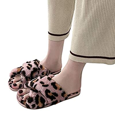 Dainzuy Womens Faux Fur Slippers Soft Plush Warm Leopard House Shoes Anti Slip Open Toe Indoor Outdoor Slippers: Clothing