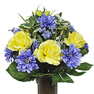 Yellow Rose and Blue Dahlia Artificial Bouquet, featuring the Stay-In-The-Vase Design(c) Flower Holder (SM1349) 70