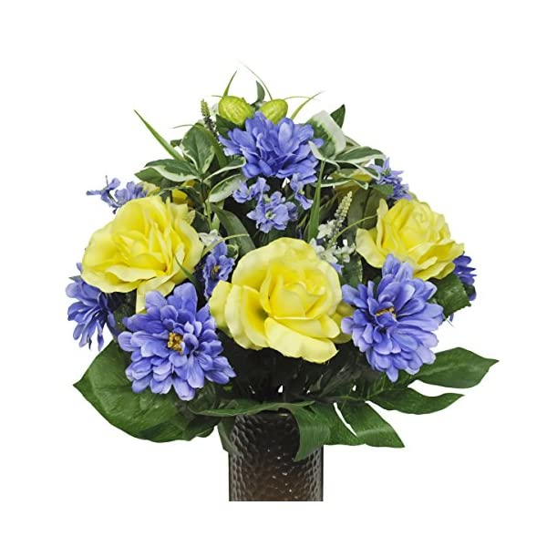 Yellow-Rose-and-Blue-Dahlia-Artificial-Bouquet-featuring-the-Stay-In-The-Vase-Designc-Flower-Holder-SM1349