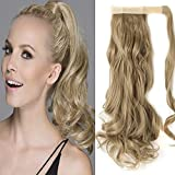 "S-noilite Wrap Around on Ponytail Clip in Ponytails Hair Extensions Human Made Real Natural Synthetic Pony Tail Hairpiece for Women Lady Girls 29 Style Available(24""-curly ash blonde)"