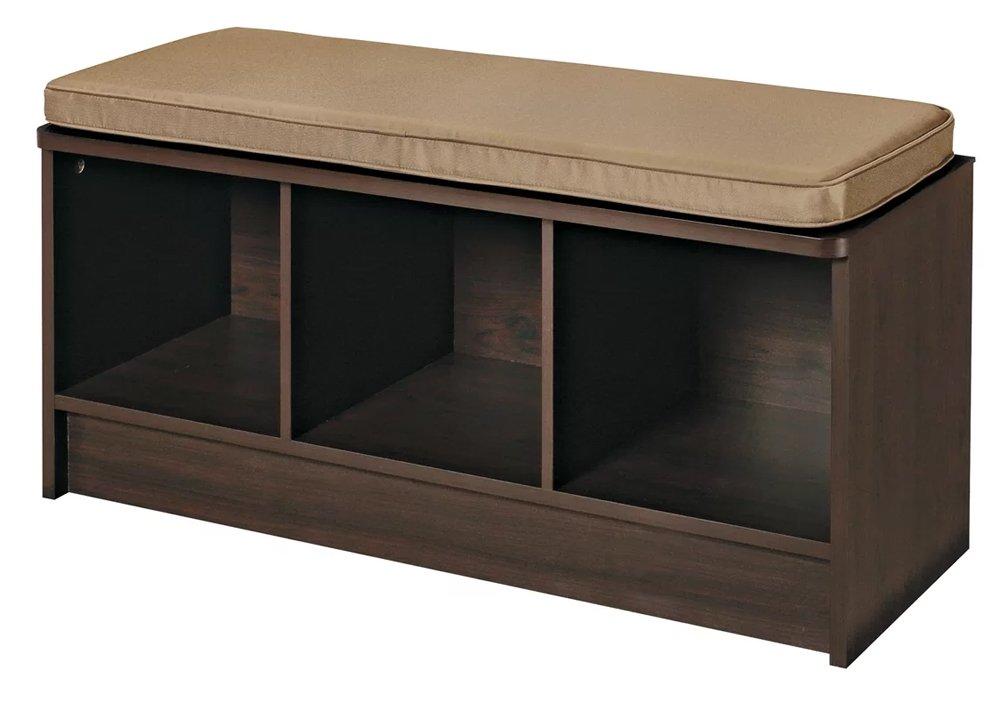Entryway Storage Bench Hallway Organizer Laundry Room & Mudroom Espresso Wood Furniture Seat With Tan Cushion