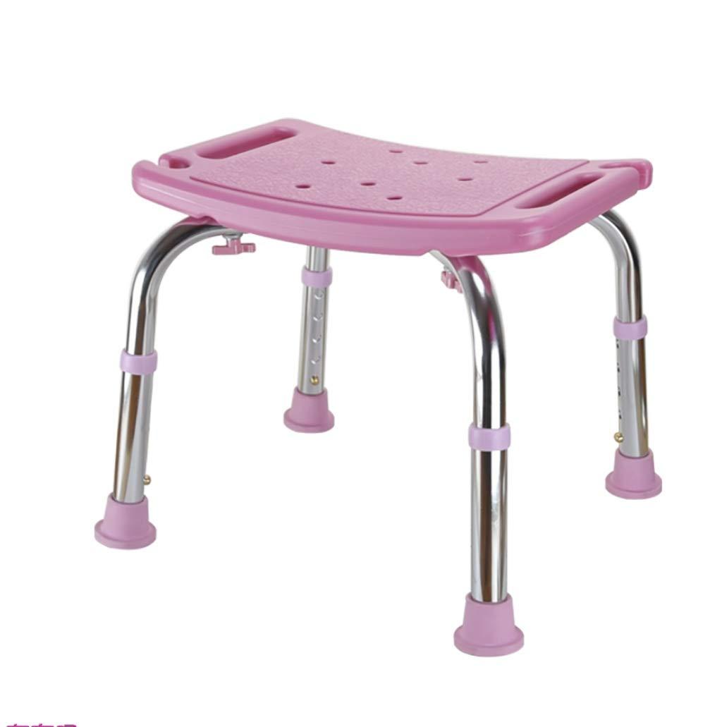 豪華で新しい アルミ製のバスチェア古いバスチェアシャワーチェア妊婦バスルームスツールノンスリップバススツールアームレスト背もたれスツール (色 (色 : Pink Pink) Pink : B07GH2F8GV, shop GTO:0cc538d8 --- efichas.com.br