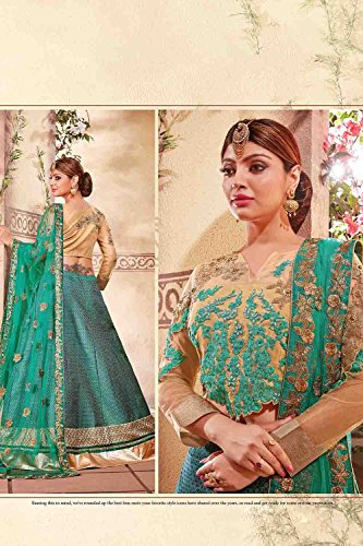 Da Facioun Womens Fancy Fabric Green Pretty Circular Lehenga Style 79612