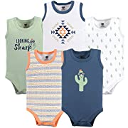 Hudson Baby 5 Pack Sleeveless Cotton Bodysuits, Cactus, 18-24 Months