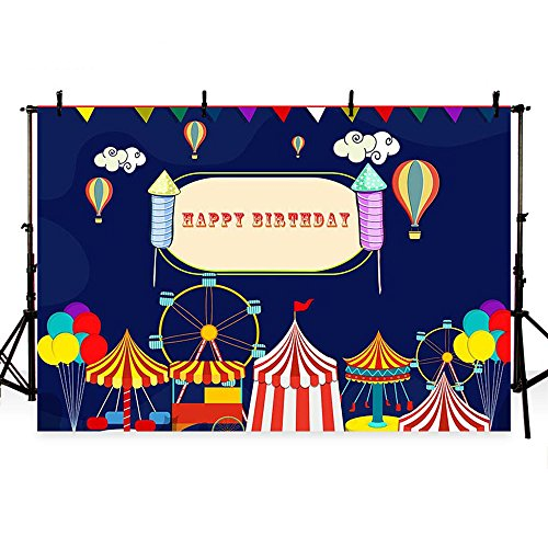MEHOFOTO Happy Birthday Photo Booth Background Circus Themed Balloon Children Party Photography Backdrops 7x5ft -