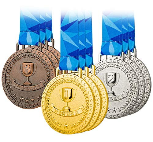 Premium Award Medals, Olympic Style, Gold Silver Bronze (Bulk Set of 9), Metal and Ribbon, Prize for Events, Classrooms, or Office Games, 1st 2nd 3rd Place -