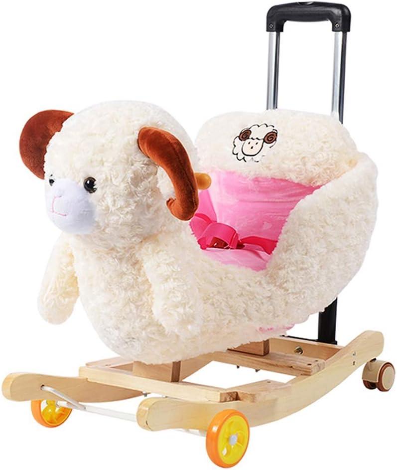 ZhaoXH-Caballo Mecedora Dos En Uno del Caballo de Oscilación de Madera del Bebé Kid Rocker Niño Mecedora Animal con Carros y Ruedas de Niñas/Niños Paseo En El Juguete -Sheep, Mono, Elefante