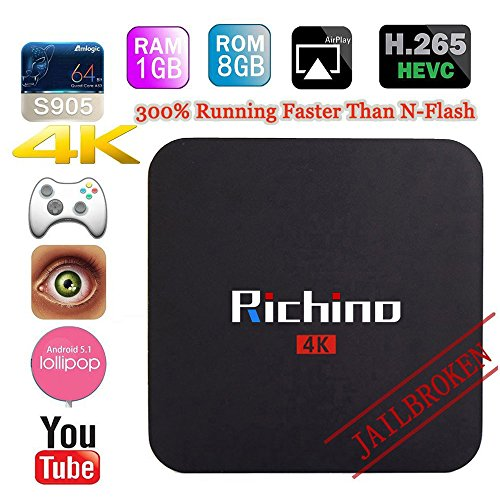 Richino Q2 Pro Android 5.1 TV Box (Amlogic S905 Kodi 16.0 Quad Core 1GB/8GB Wifi, 1080P, 4K Smart Media - 1 Tv Gb
