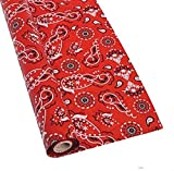 Red Bandana Plastic Tablecloth Roll - 100 Feet Long X 40 Inches Wide Table Cover