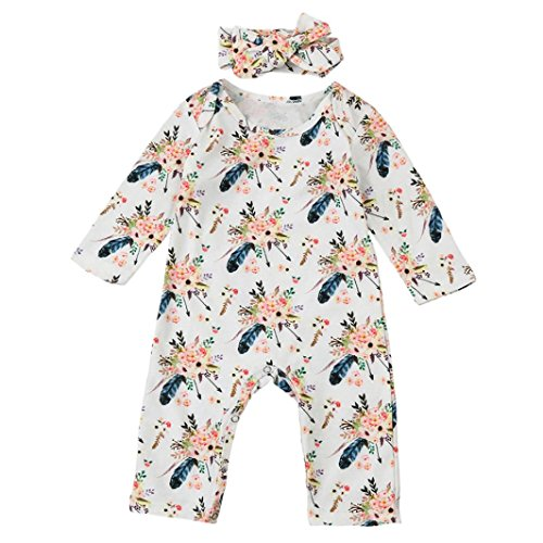 4b396817b Newborn Baby Boys Girls Floral Romper with Headband Jumpsuit Bodysuit Outfit  Set Fall Clothes