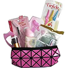 Bundle -11 Items: Cosmetic Bag, Tinkle Eyebrow Razor, Tweezer, Eyebrow Scissors, Eyeliner Shaper Aids, False Eyelashes Applicator, 24 Styles Set - Eyebrow Stencil, Mascara Applicator Guide, Makeup Puff, Konjac Sponge, Makeup Brush.