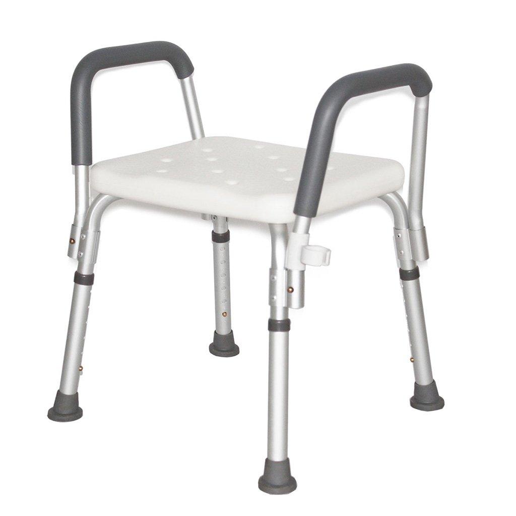 高齢者と子供のための肘掛け防止スリップバススツールとバスルームの高さ調節可能シャワーチェアの浴室のスツール136KG白 B07H4L4L8Q
