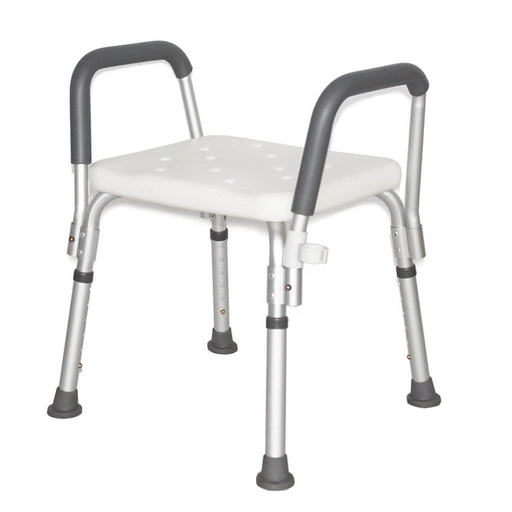 Bedside Commodes Bathroom height adjustable shower chair bathroom stool with armrests anti-slip bath stool for the elderly and children load-bearing 136KG white