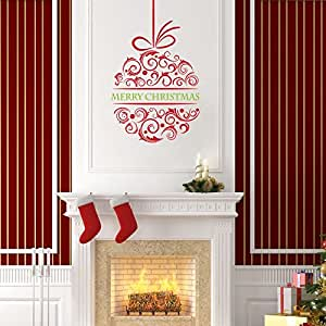 Higoss Merry Christmas Ball Wall Stickers Decal Removable Wall Art Vinyl for Kids Rooms Home Decor