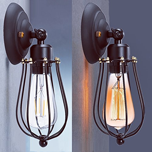 LED Wall Light Shade, CMYK Retro Vintage Wall Lamp Lights Shade Industrial Edison Metal Mini Wire Cage Wall Sconce Fixture Without Bulb (Single Head)