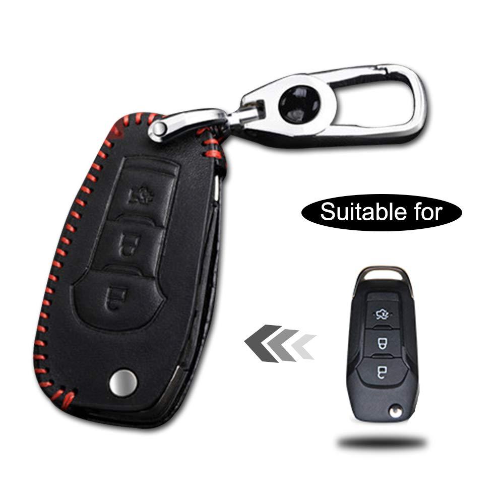 Carcasa Cuero para Llave Ford 3 Botones Llave Control Remoto Plegable línea roja con Llaveros 1 PC Modelo D
