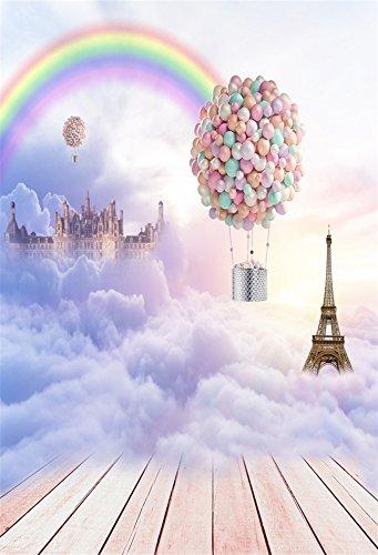 Leowefowa 3X5FT Happy Birthday Backdrop Hot Air Balloons Eiffel Tower Rainbow Dreamy Heaven Backdrops for Photography Shabby Stripes Wood Floor Vinyl Photo Background Girls Kids Portraits Studio -
