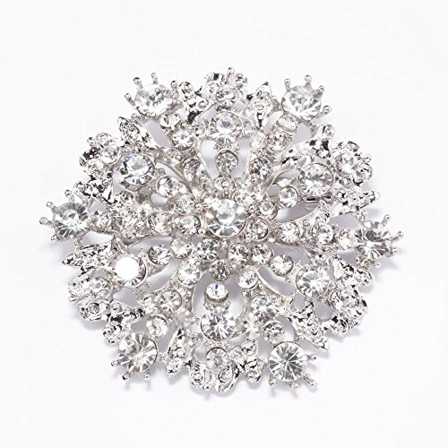 Antique Silver Brooches – Rhinestone Snowflake Brooches Bulk for Crystal Brooch Bouquet, Embellishments, Vintage Wedding Decorations and More – 20 Rhinestone Brooch Pins Bulk (2 Inch) Antique Silver Tableware