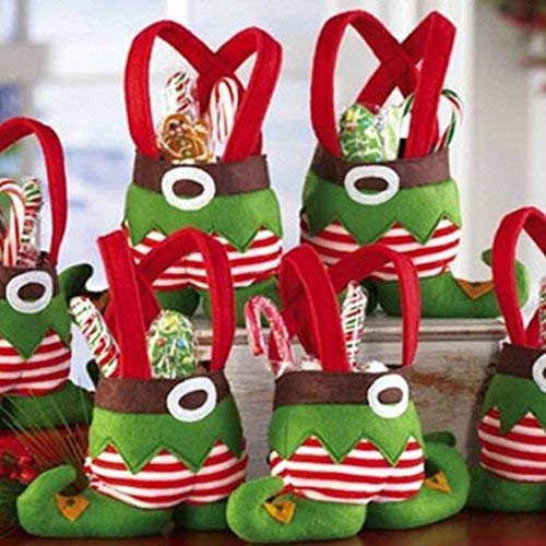 Christmas Gift Bags, 3 PCS Christmas Elf Foot Socks Candy Bags Christmas Gift Bags Elf Spirit Stocking Filler Pants Cutlery Supplies Practical Home for Christmas