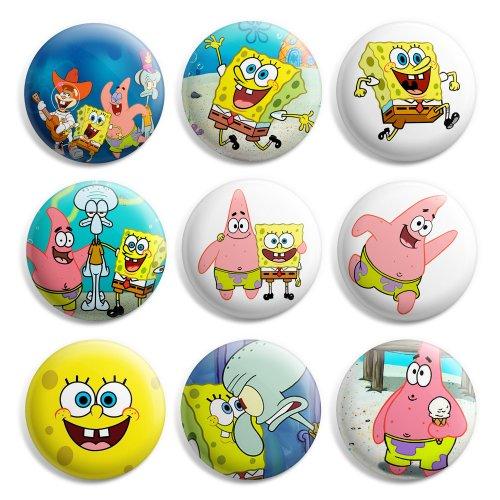 (Spongebob Squarepants Pinback Buttons Pin Badges 1 Inch (25mm) - Pack of 9)