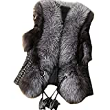 Lkous Short Design Female fox Fur Vest Leather Vest Outerwear Women Coat
