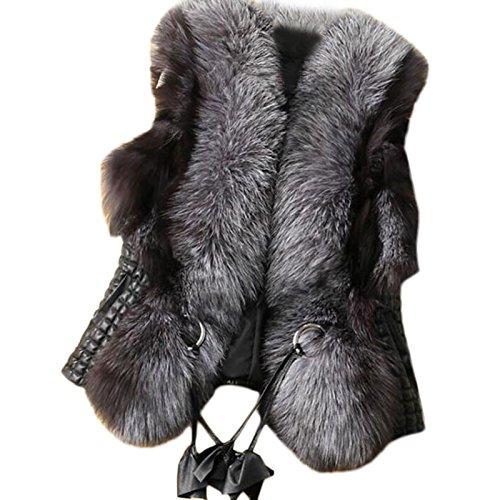 Lkous Short Design Female fox Fur Vest Leather Vest Outerwear Women Coat by LKOUS