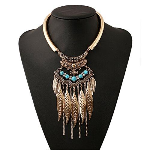 Lanue Women Vintage Leaf Tassel Choker Collar Pendant Turquoise Necklace Bohemian Gypsy Jewelry (Gold)