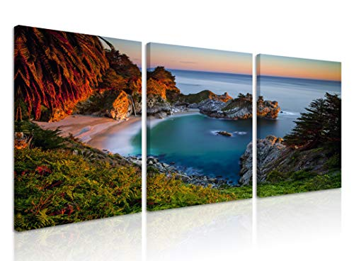 Natural art Bay Landscape Photos for Office Cafe Living Room Wall Decoration Tropical Islands Scenery Modern Home Decor Canvas Art Framed 12x16 Inch 3 Panels