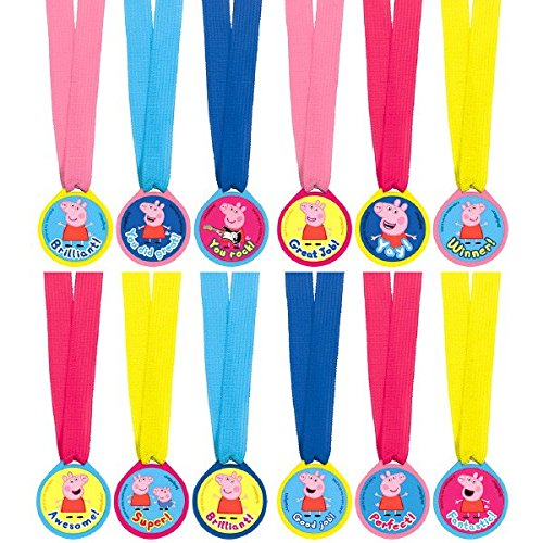 [Peppa Pig Birthday Party Award Medals Favour, Magenta,Pink,Royal Blue,Light Blue,Yellow, Fabric , 13