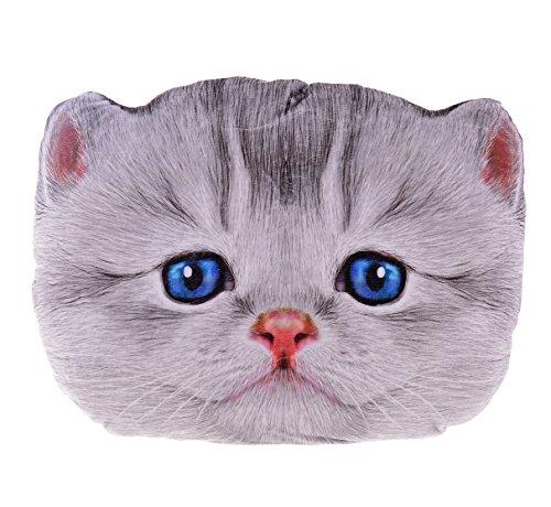 Sumerk 3D Cute Plush Cat Head Shape Pillow Car Sofa Chair Back Cushion, Cat Face Decorative Pillowcase - Cat Head Shape