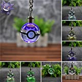 K9 Crystal Pokemon Gengar 3D Colorful Crystal Ball RGB Lighting Key Chain Creative Car Key Pendant Crystal Ball Feng Shui Pendant Gift(Pokemon Gengar Crystal Ball)