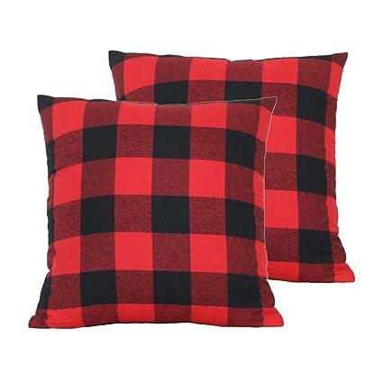 Plaid Christmas Pillows.Wencal Red Black Christmas Buffalo Tartan Check Plaid Throw Pillow Case Farmhouse Cushion Cover 18 X 18 Inch Pack Of 2