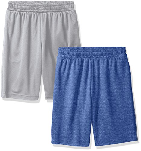 Amazon Essentials Boys' 2-Pack Mesh Short, Bright Blue/Grey, Large