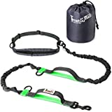 Adjustable Hands Free Dog Leash with unique waist belt pouch and 2 Elastic Bungees For Shock Absorption Gain Safety and Full Control While Walking or Running with Your Dog by TimeTuu Run (Green)