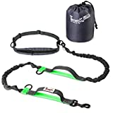 """Timetuu Hands Free Dog Leash – Dual Handle Walking & Running Leash – Two Reflective Elastic Bungees for Shock Absorption – Waist Belt Pouch to Store Poop Bags – for Medium to Large Dogs – Length 60"""" For Sale"""