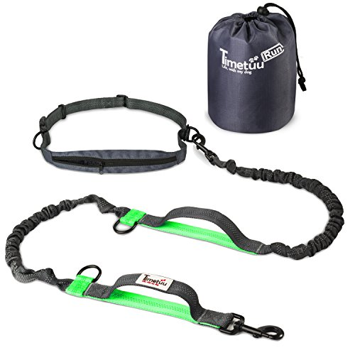 """Timetuu Hands Free Dog Leash – Dual Handle Walking & Running Leash – Two Reflective Elastic Bungees for Shock Absorption – Waist Belt Pouch to Store Poop Bags – for Medium to Large Dogs – Length 60"""""""
