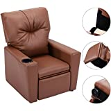 Kids Recliner with Cup Holder Brown Leather Sofa Chair Recliners Chairs for Children