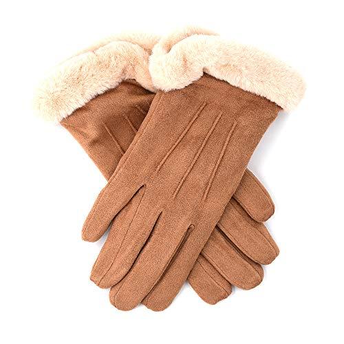 Alessa Shearling-Cuff Suede Gloves [Women's Size - ()