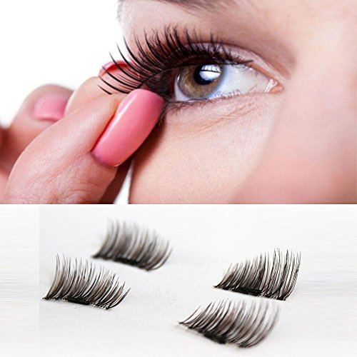 Coohole 4 Pcs (1 Pair) Magnetic Eye Lashes 3D Reusable False Magnet Eyelashes Extension for Cosplay Halloween Christmas Party (Eyeliner Designs For Halloween)