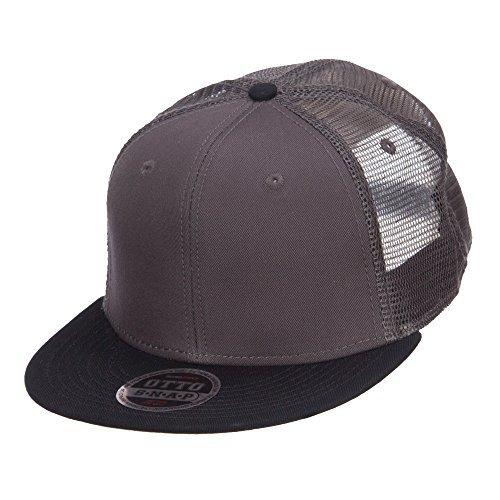 Mesh Premium Snapback Flat Bill Cap - Black Charcoal (Snapback Cap Charcoal)