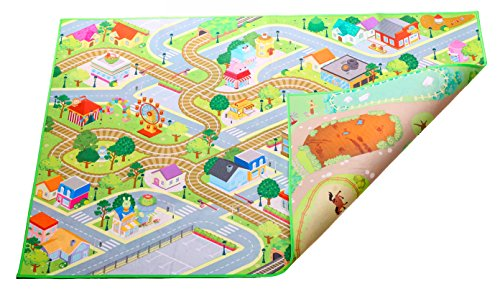 Kids Double Sided Felt Play Mat - 2 in 1 City & Farm, indoor/outdoor, machine washable 59'' L x 39'' W by MMP Living