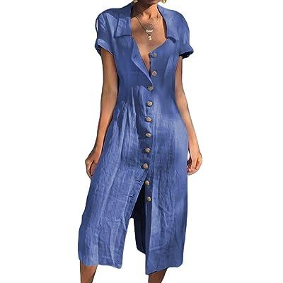 RENJIANFENG Vestido Camisero De Mujer,Cuello En V Manga Corta con Abertura Abotonada Frente Al Cuello De La Camisa De Verano Manga Enrollada Camisa Informal Vestido Largo Camiseta Túnica,Azul,S: Hogar