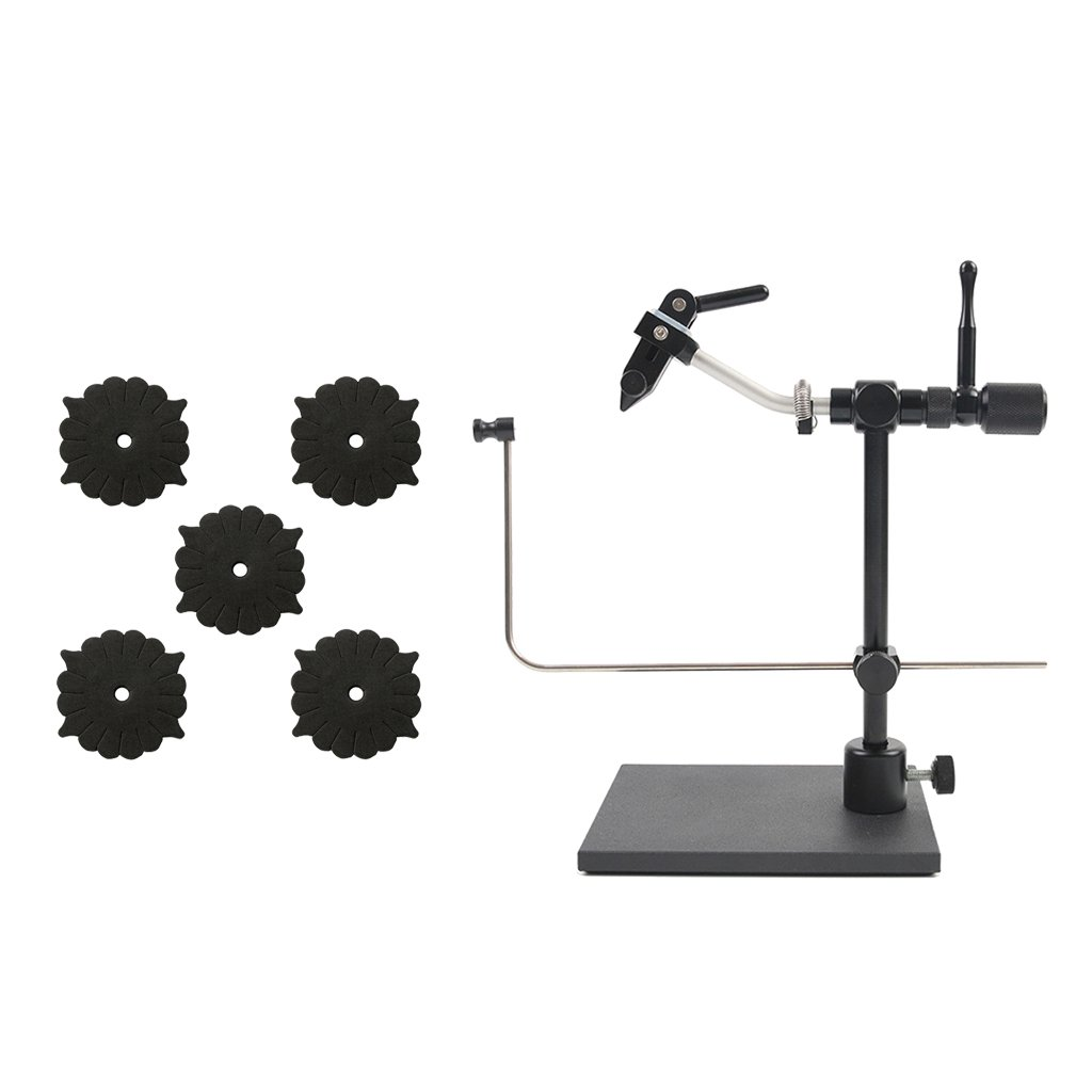 MonkeyJack Pack of 5 Pieces Foam Fly Tying Vise Drying Racks/Holders and Black Fly Tying Vice Set