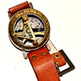 Nautical Gift Decor Wrist Brass Compass & Sundial-Watch With Leather Strap Sundial