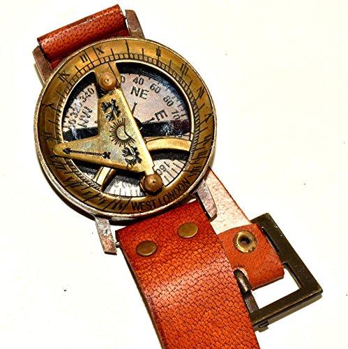 (Nautical World Sundial Compass Brass Wrist Watch Maritime Functional Marine Engraved Pocket)