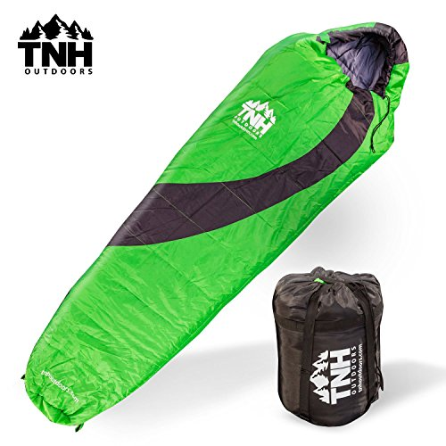 Adult Sleeping Bag By TNH Outdoors – 3 – 4 Season Zero 0 Degree Loft Outdoor Camping Bag Waterproof Design with Zipper and Compression Sack