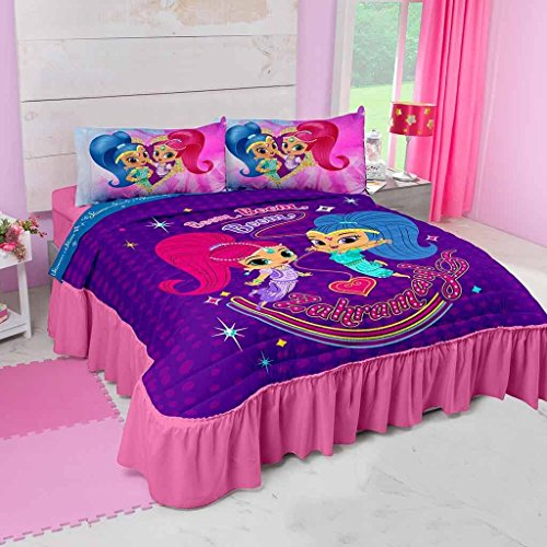 Nice JORGE'S HOME FASHION INC NEW PRETTY COLLECTION SHIMMER AND SHINE KIDS GIRLS ORIGINAL LICENSE BEDSPREAD AND SHEET SET 4 PCS TWIN SIZE for sale
