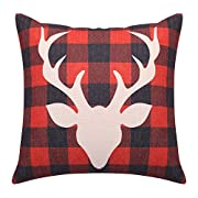 Buffalo Plaid Throw Pillow Covers Deer Decorative Pillow Cases Square Linen Cushion Covers for Christmas New Year Home Decor Housewarming Gift 18x18 Inches